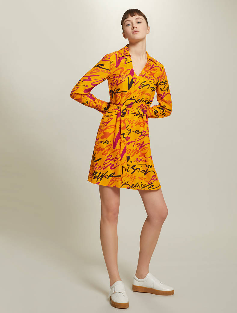 Sunset Road silk dress - tangerine pattern - pennyblack