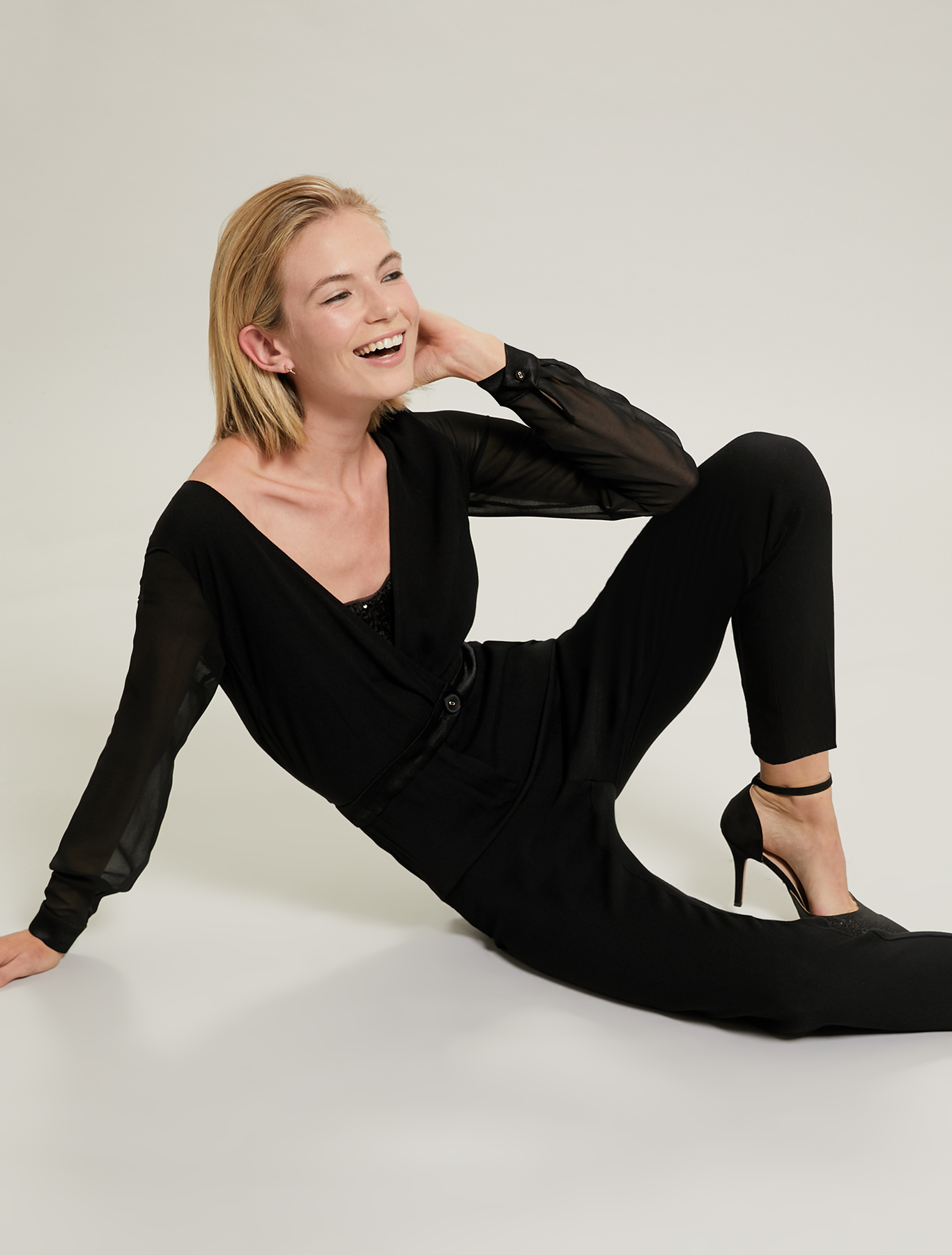 Sequinned jumpsuit with top - black - pennyblack