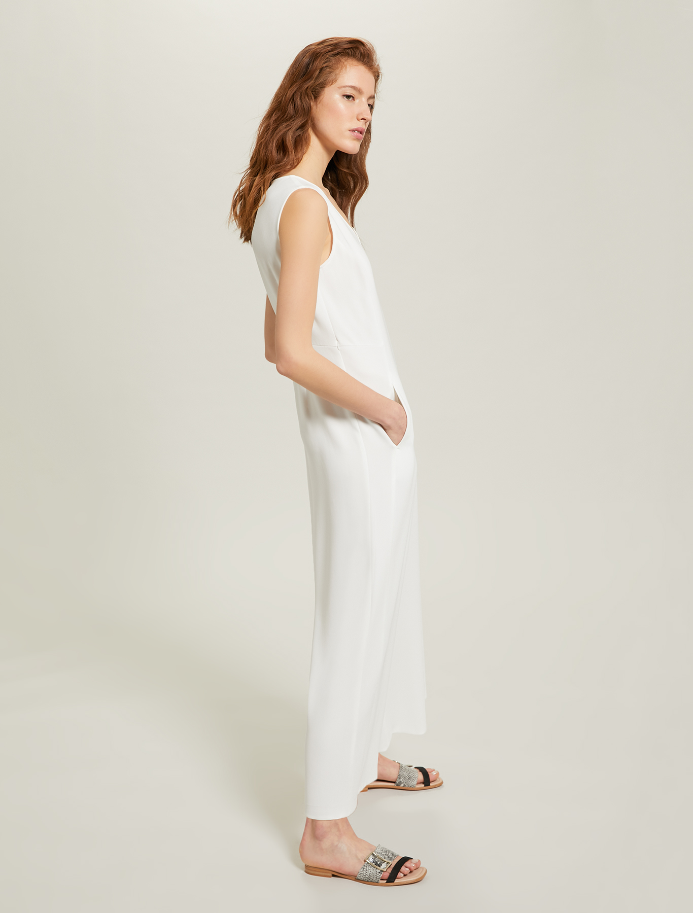 Flowing fabric jumpsuit - ivory - pennyblack