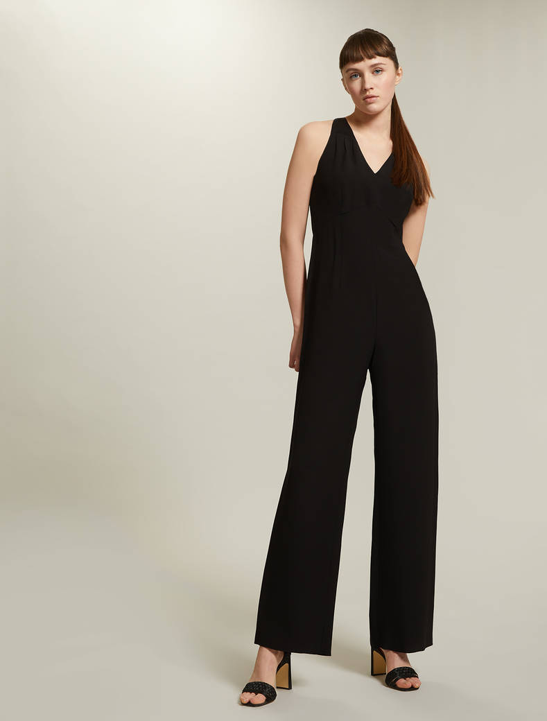 Palazzo jumpsuit in envers satin - black - pennyblack