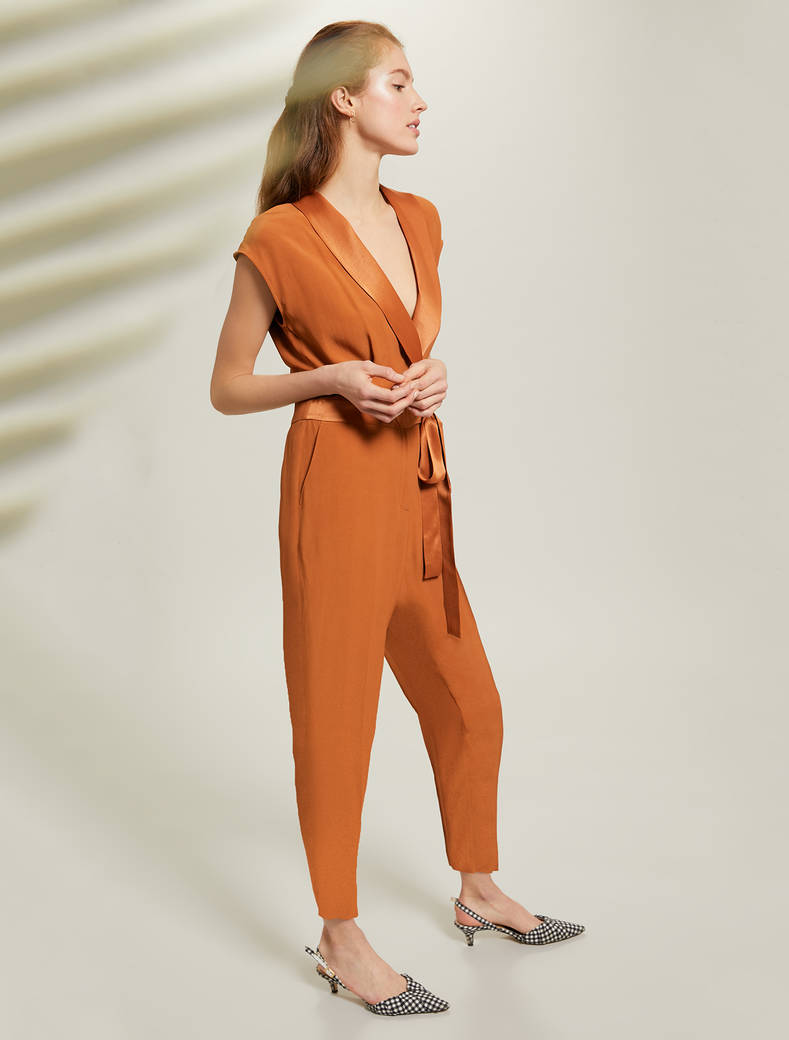 Envers satin jumpsuit - brown - pennyblack