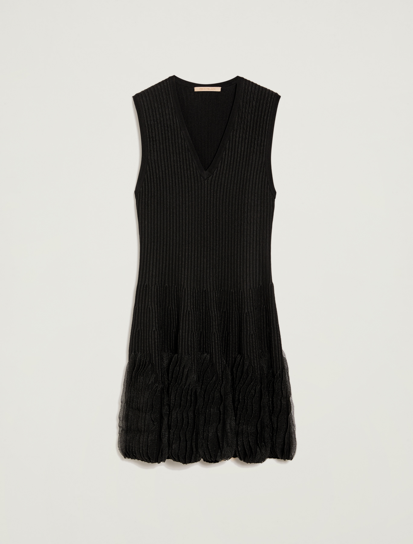 Knit dress with flounce - black - pennyblack