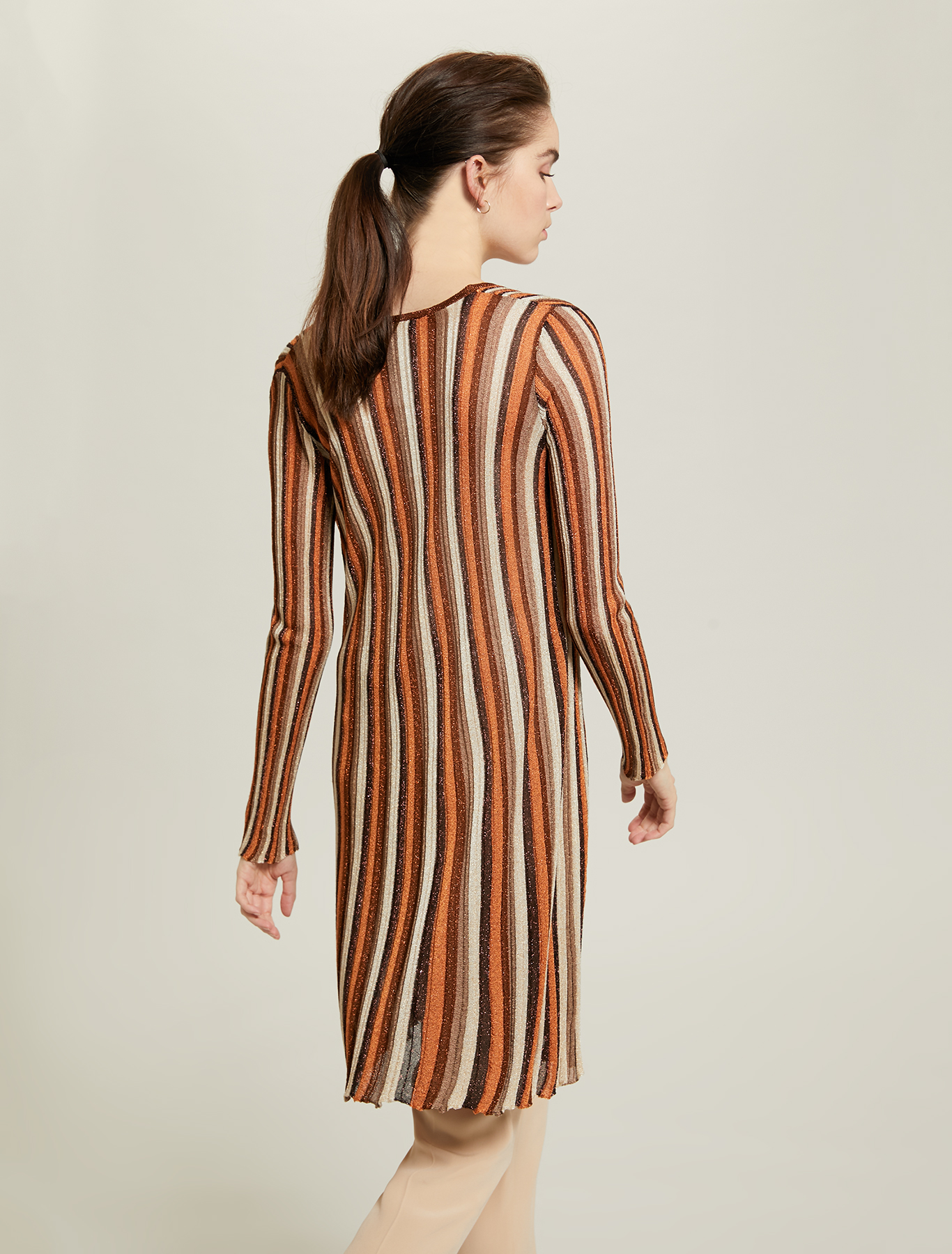 Pleated lamé cardigan - brown - pennyblack