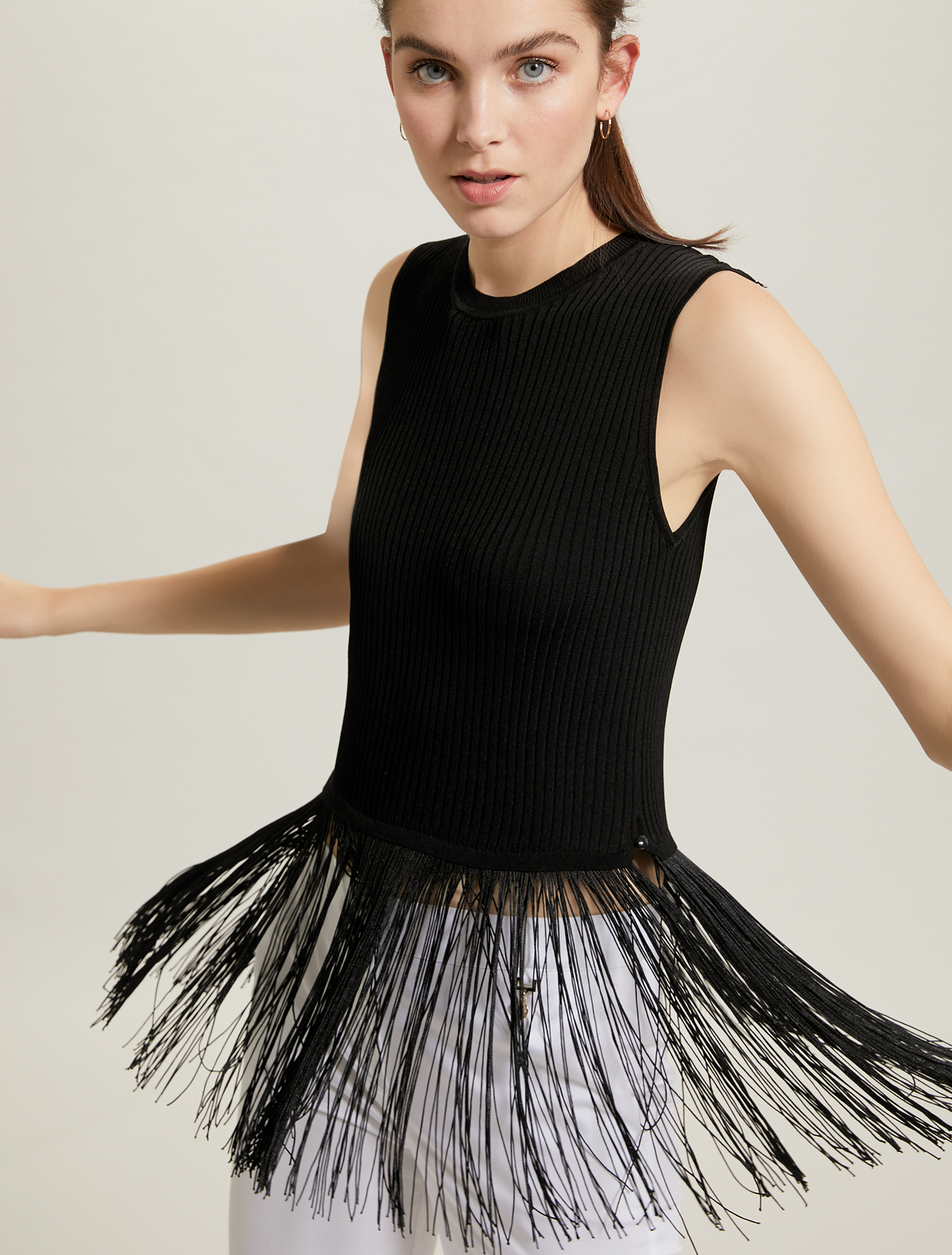 Knit top with maxi fringe - black - pennyblack