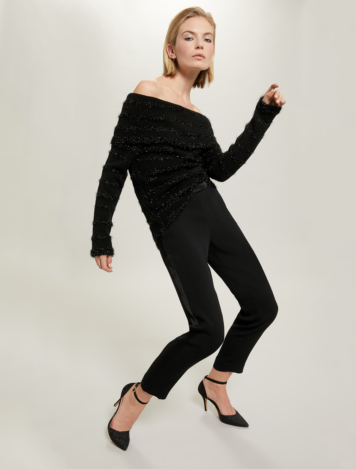 3D-striped jumper - black - pennyblack