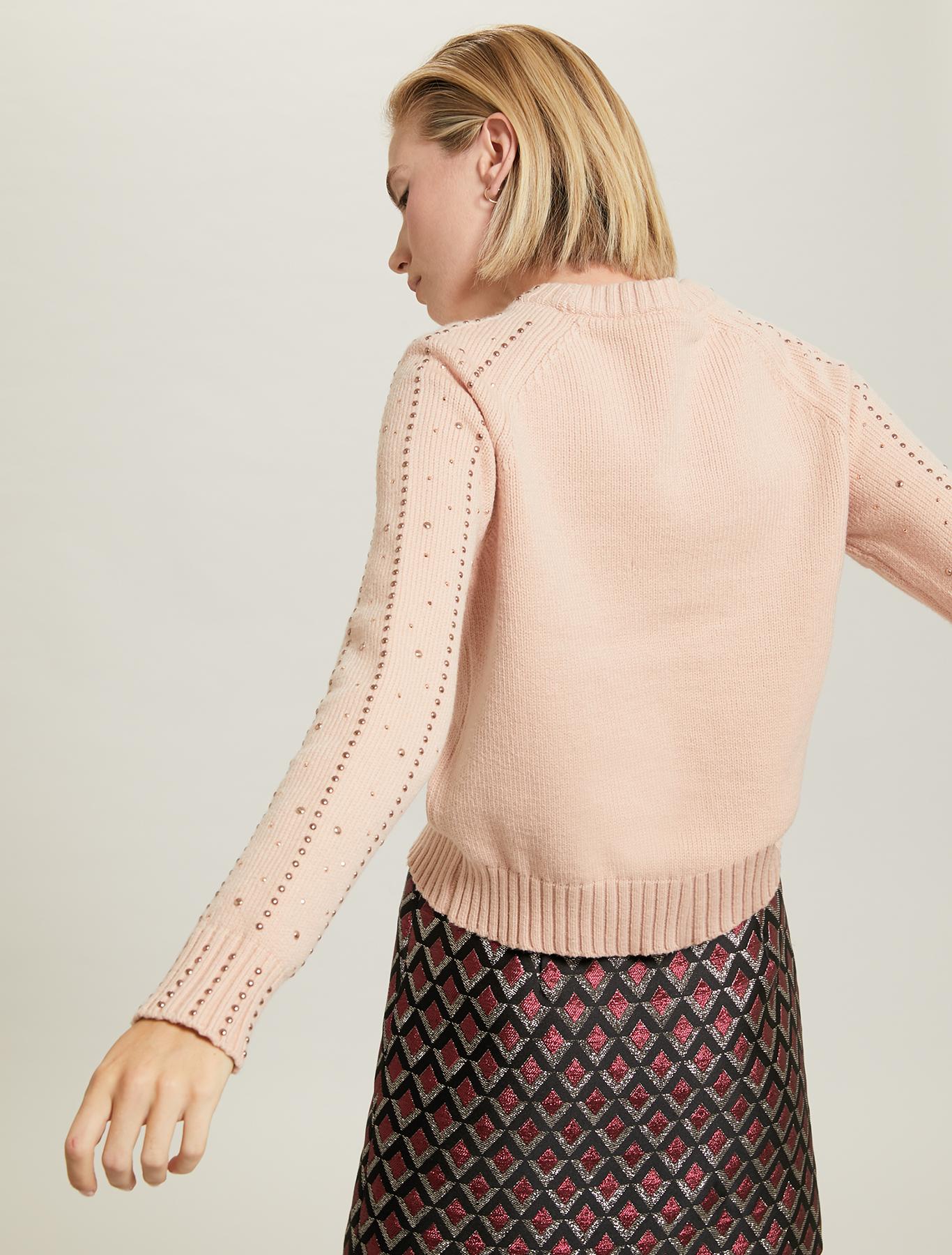 Studded, rhinestone jumper - pink - pennyblack