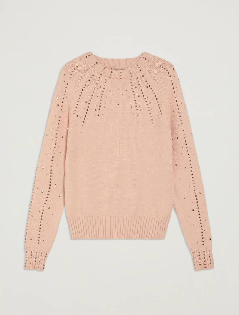 Maglia con borchie e strass - rosa - pennyblack