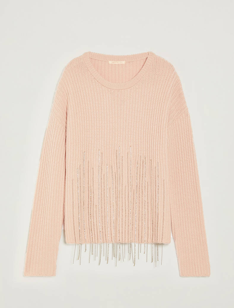 Jumper with jewelled fringe - pink - pennyblack