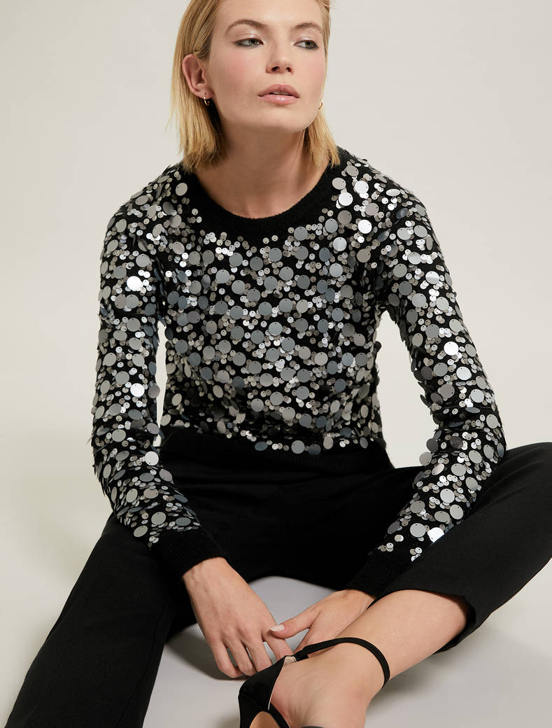 Sequinned jumper - black - pennyblack