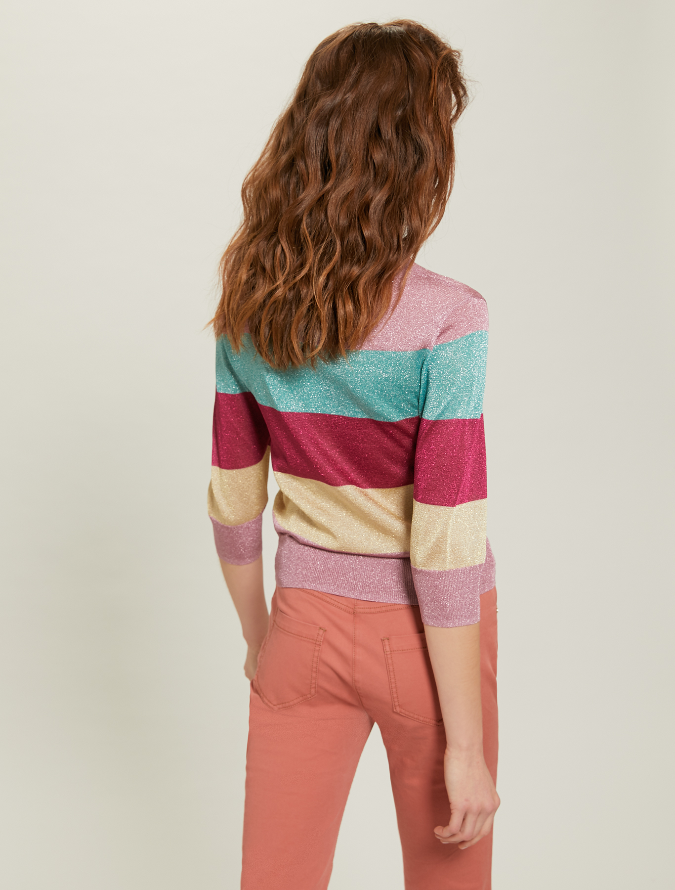 Maxi-striped lamé jumper - multi coloured - pennyblack