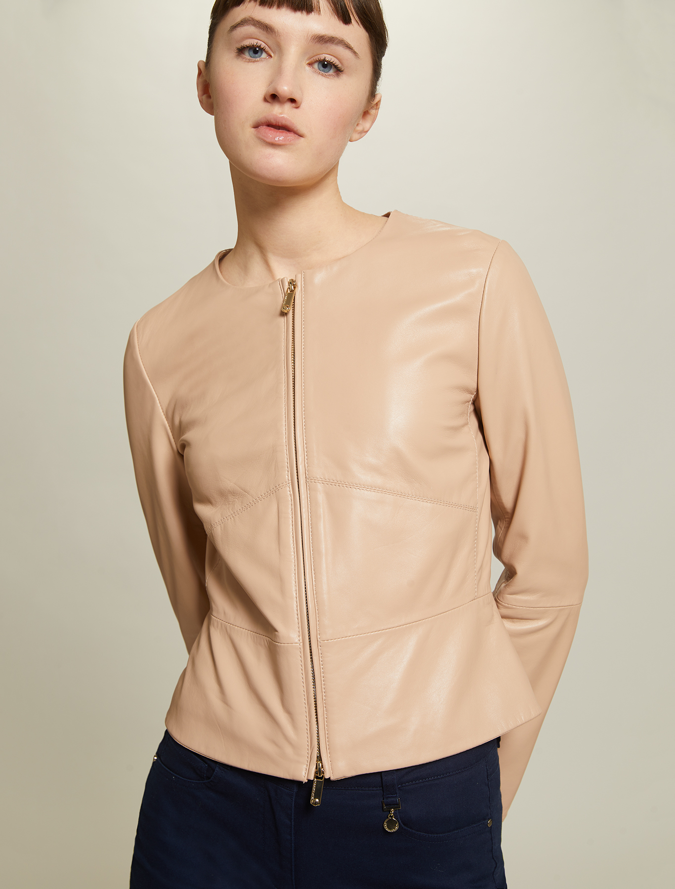 Slim nappa leather jacket - pink - pennyblack