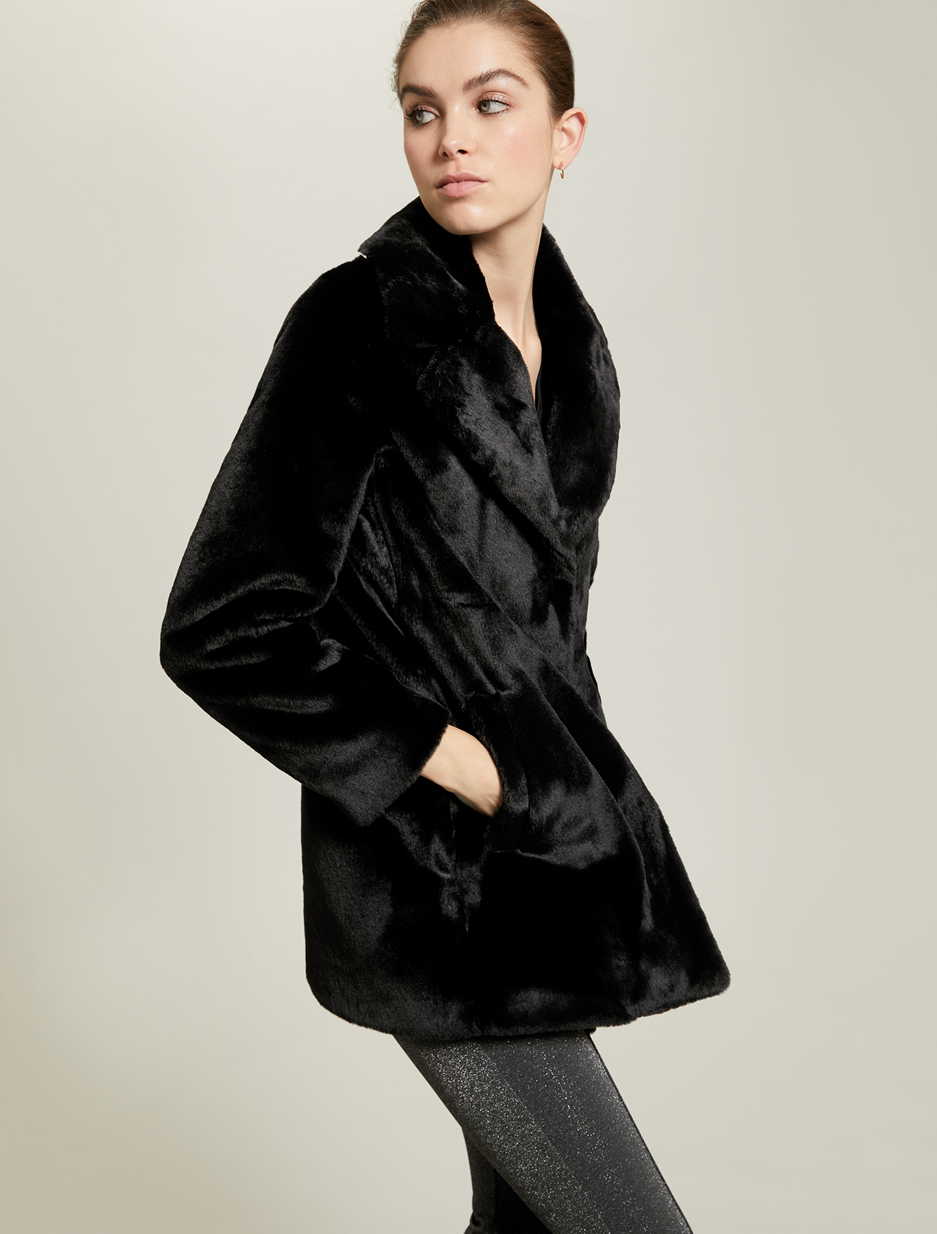 Plush coat - black - pennyblack