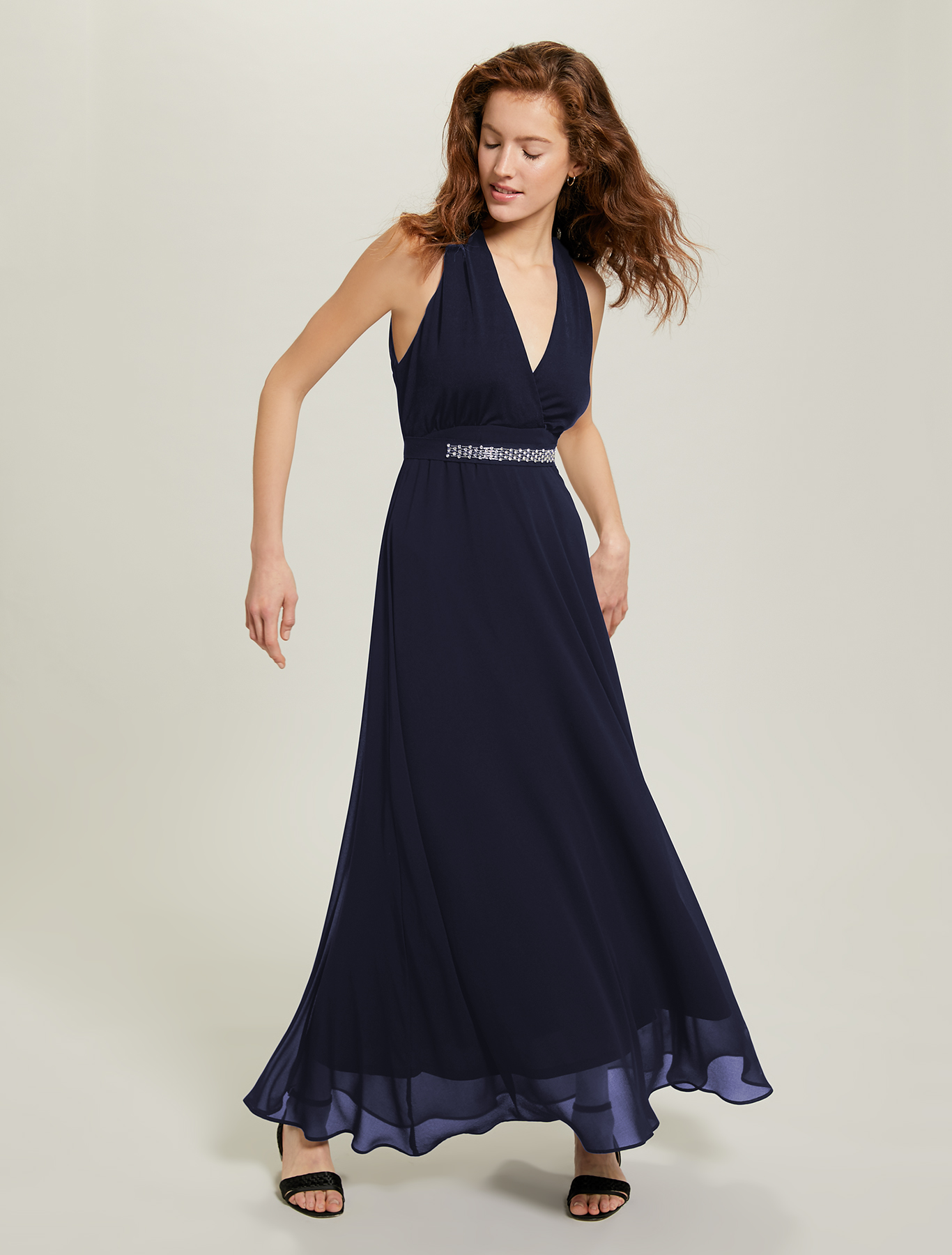 Georgette and jersey dress - navy blue - pennyblack