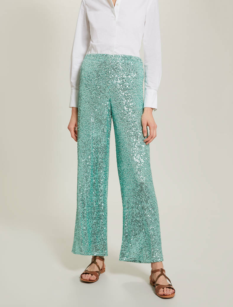 Sequinned trousers - pastel green - pennyblack