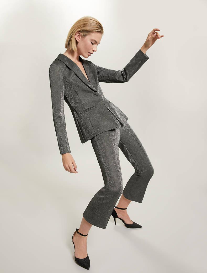 Lamé jersey blazer - silver pattern - pennyblack