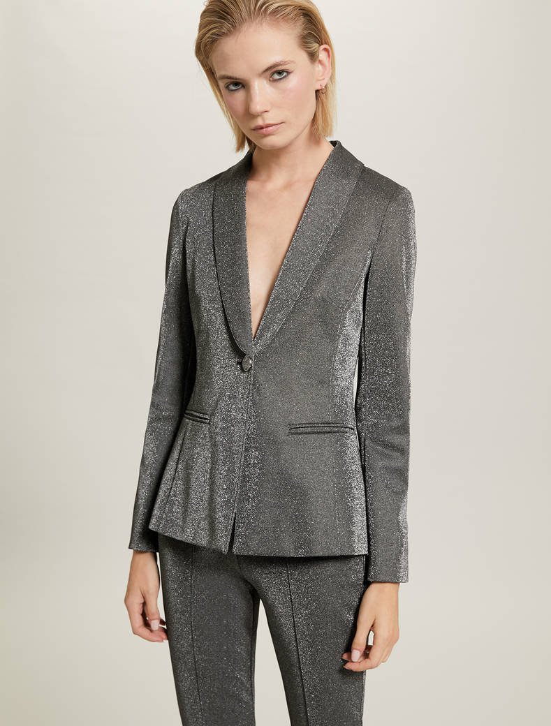 Blazer in jersey lamé - fantasia argento - pennyblack