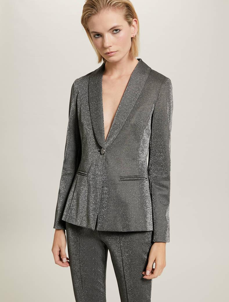 Blazer in jersey lamé - fantasia argento - pennyblack