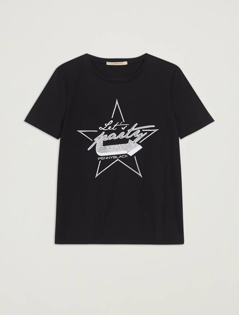 Cotton T-shirt with lettering - black - pennyblack