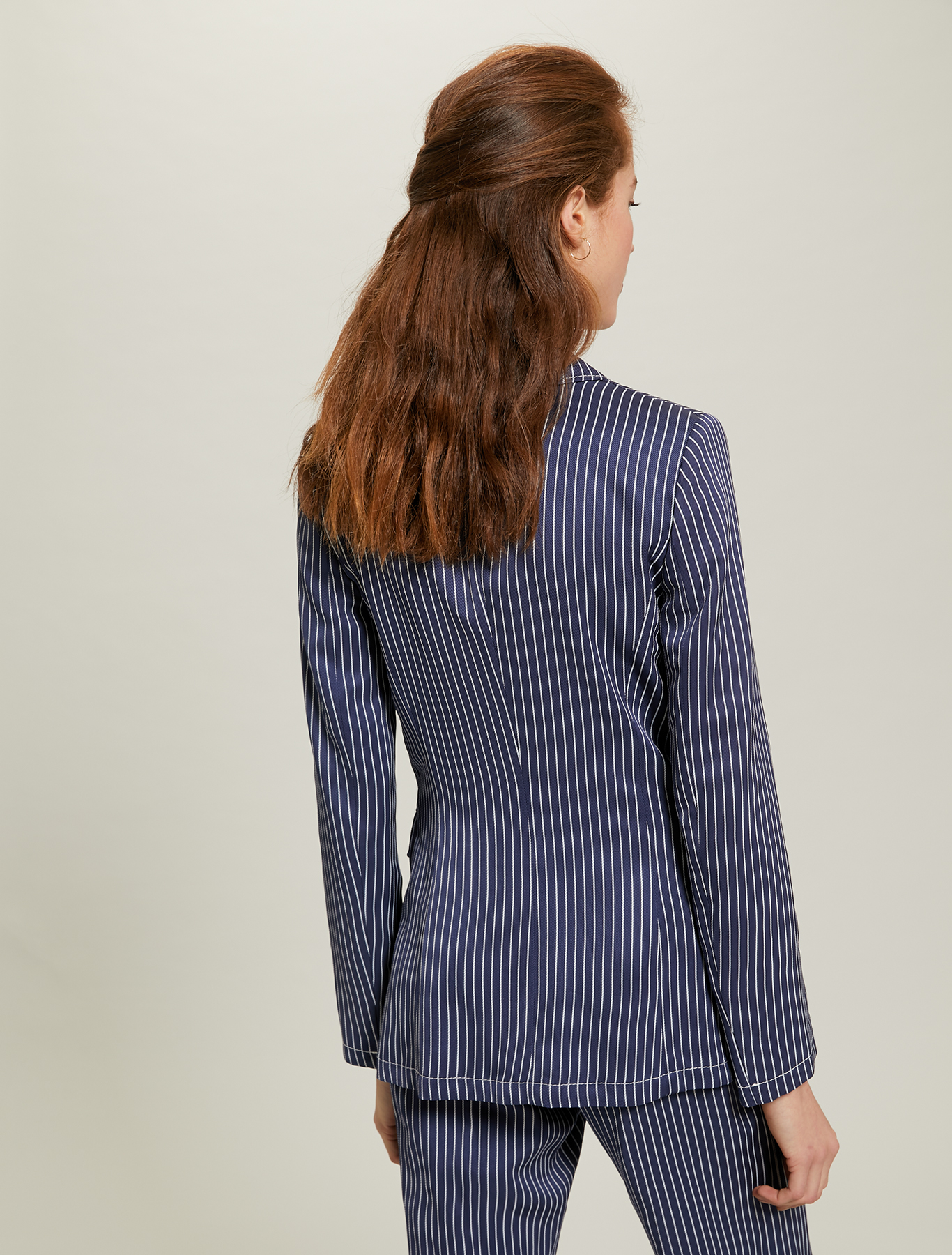 Pinstriped twill blazer - navy blue pattern - pennyblack