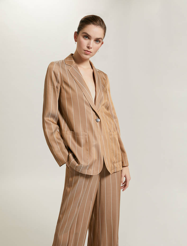 Fluid pinstriped blazer - dove-grey pattern - pennyblack