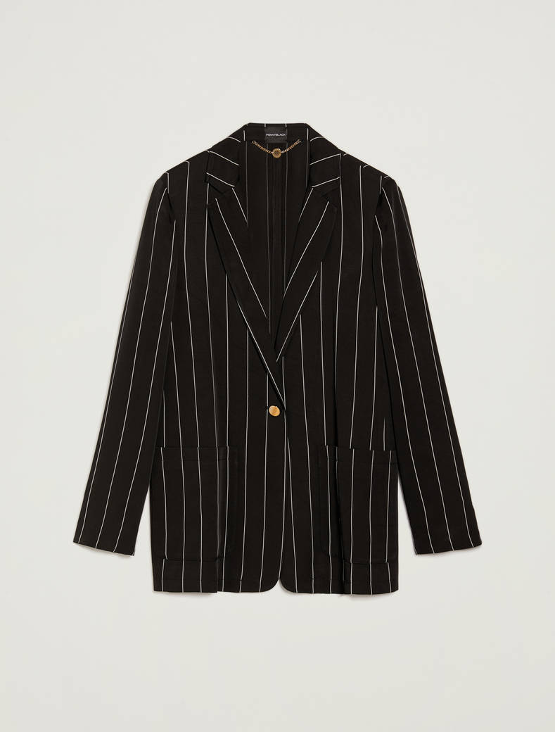 Fluid pinstriped blazer - black pattern - pennyblack