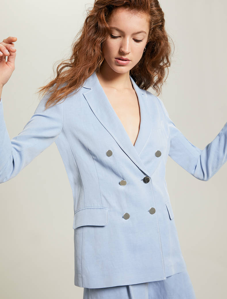 Double-breasted blazer in fil-à-fil - light blue - pennyblack