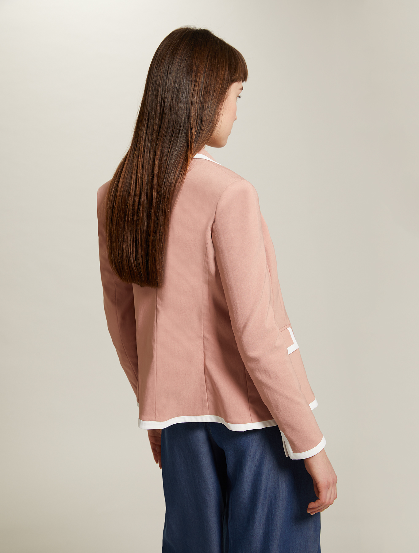 Blazer with contrasting borders - pink - pennyblack