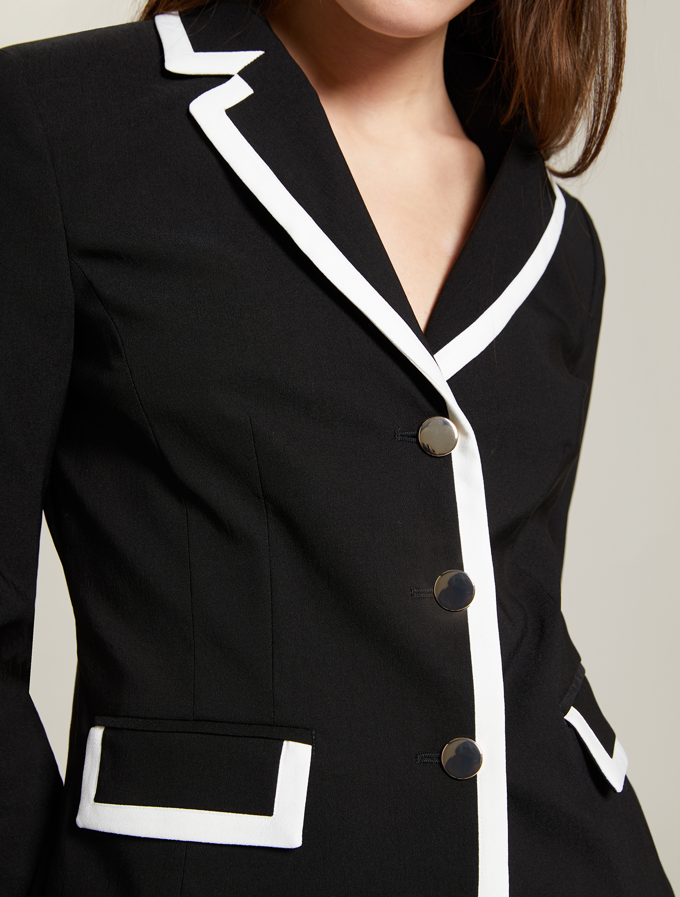 Blazer with contrasting borders - black - pennyblack