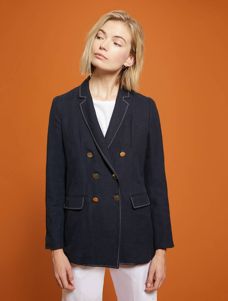 Basketweave linen-cotton blazer - navy blue - pennyblack