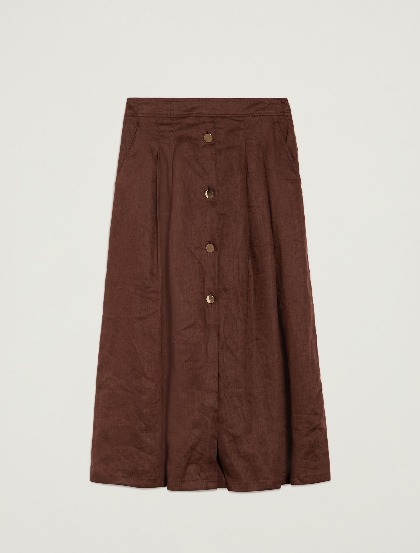 Pure linen culottes - brown - pennyblack