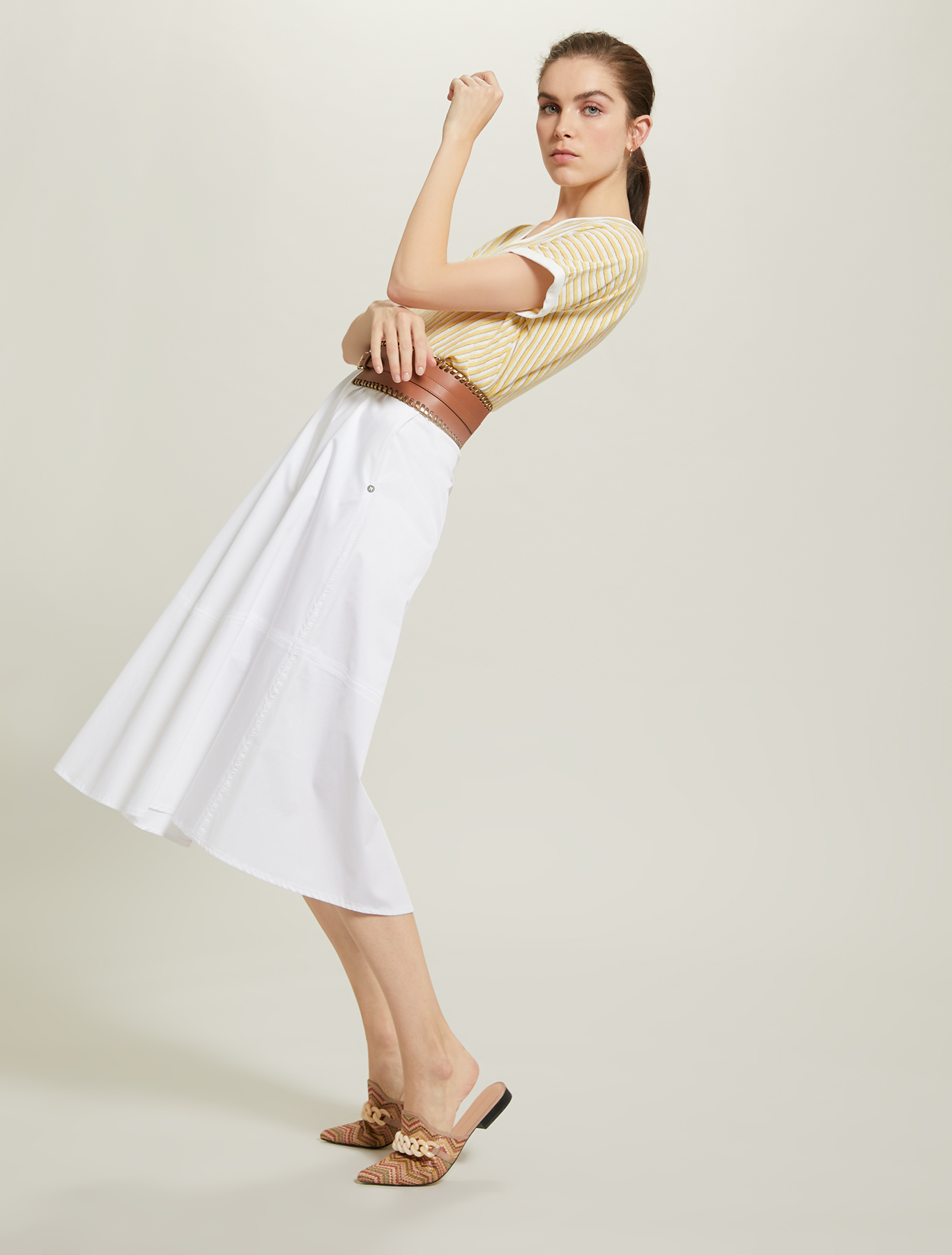 Cotton satin skirt - white - pennyblack