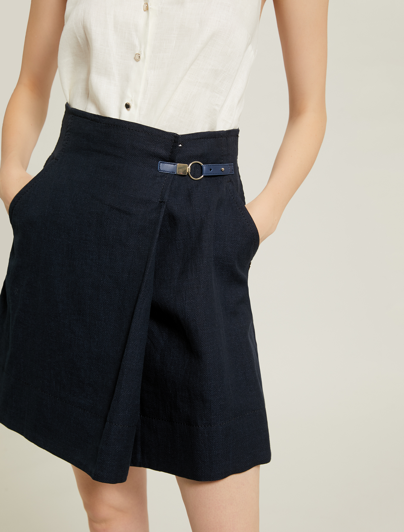 Basketweave linen-cotton skirt - navy blue - pennyblack