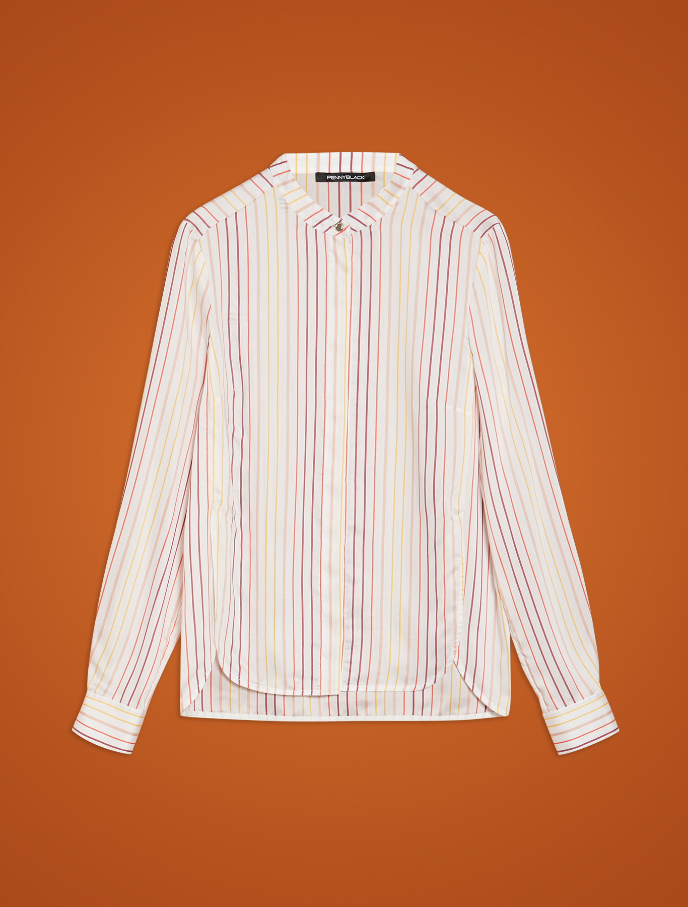 Striped habutai shirt - white pattern - pennyblack