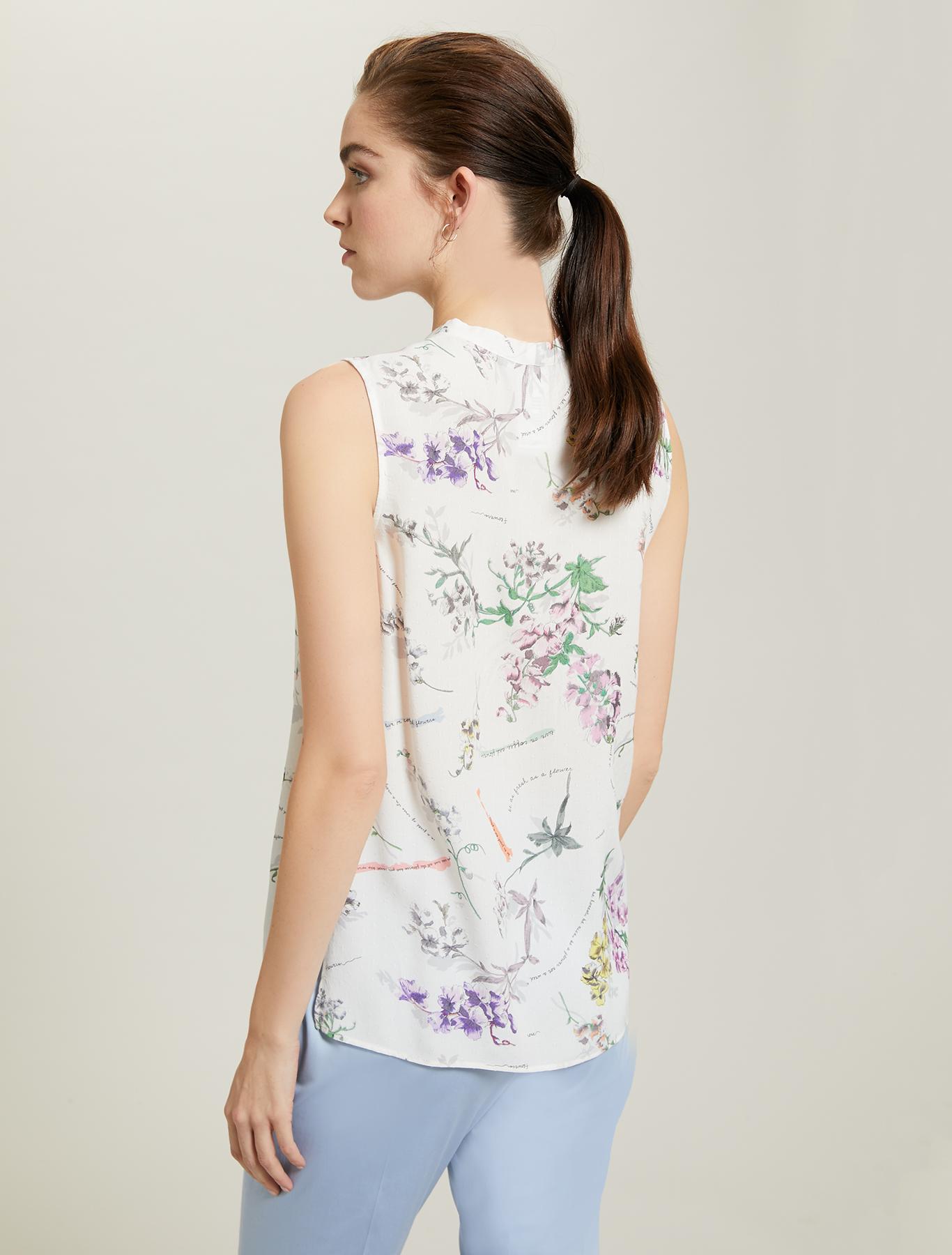 Plant-print top - white pattern - pennyblack