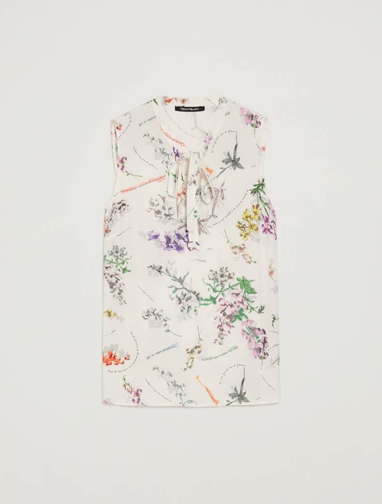 Top a stampa botanica - fantasia bianco - pennyblack