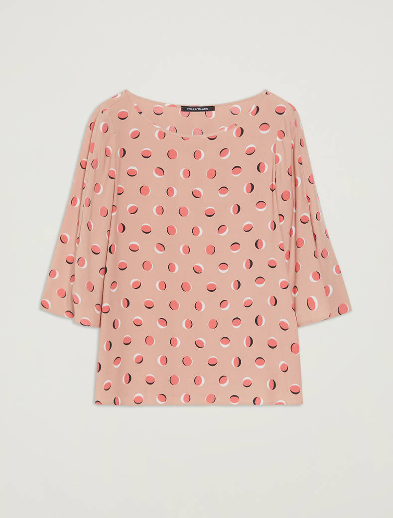 Polka dot sablé blouse - rose pink pattern - pennyblack