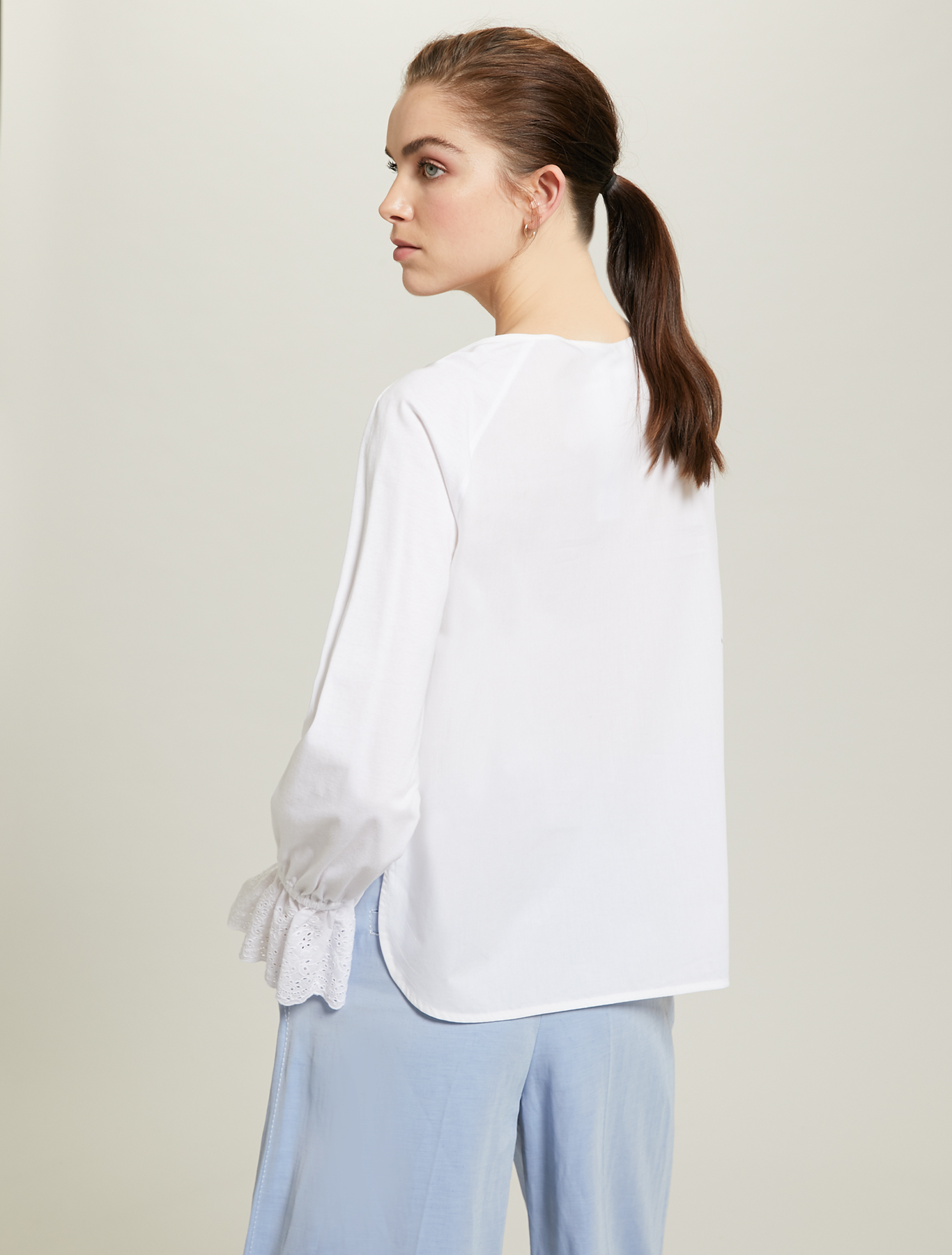 Poplin and jersey blouse - optic white - pennyblack