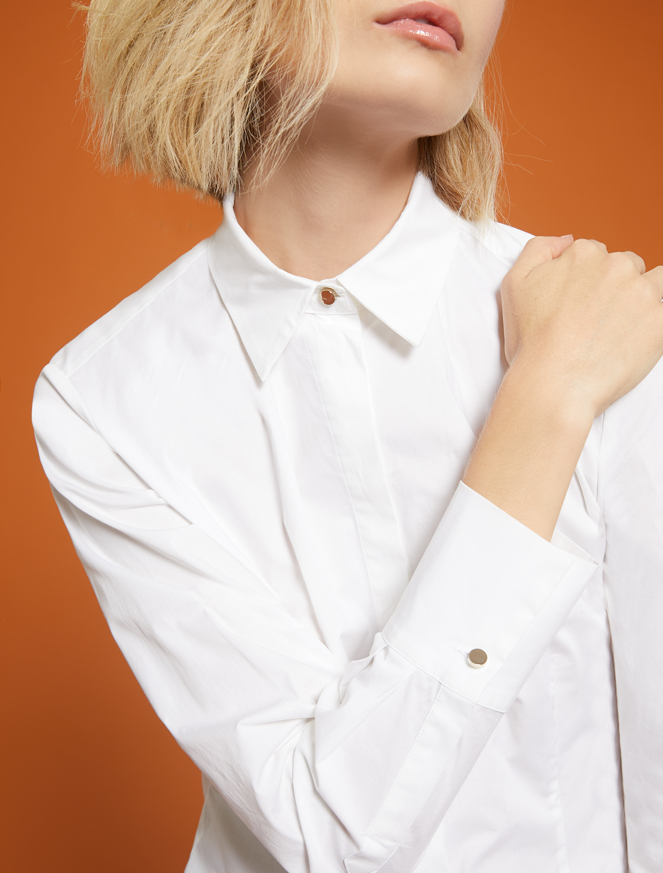 Slim-fit, cotton shirt - optic white - pennyblack