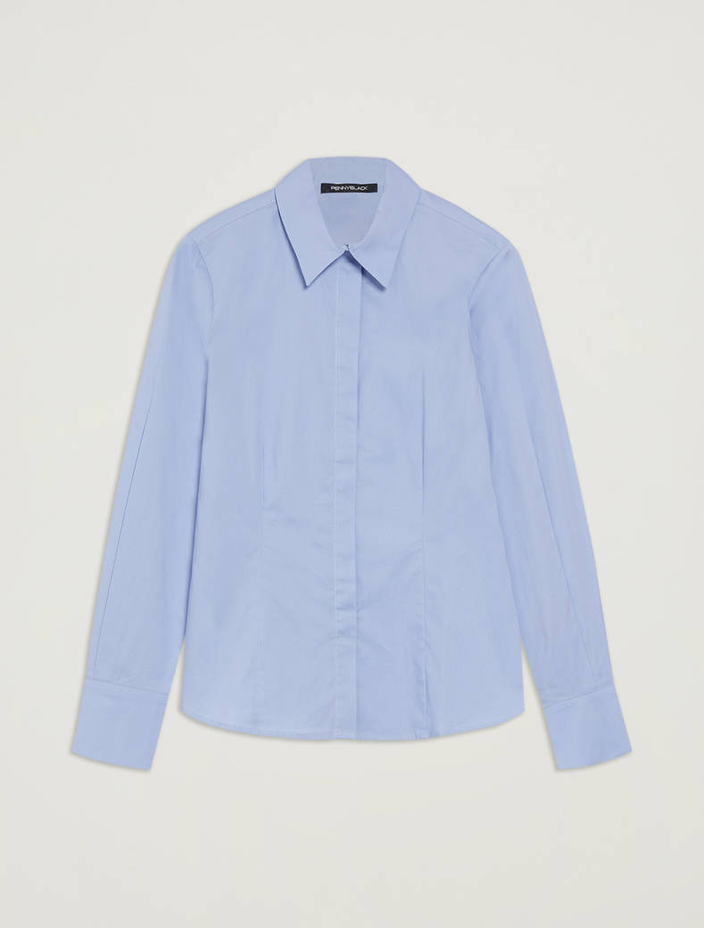 Slim-fit, cotton shirt - light blue - pennyblack