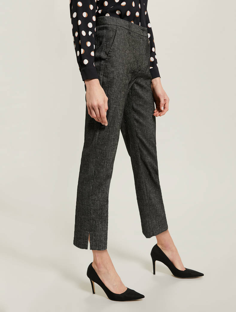 Slim cotton-linen trousers - black - pennyblack
