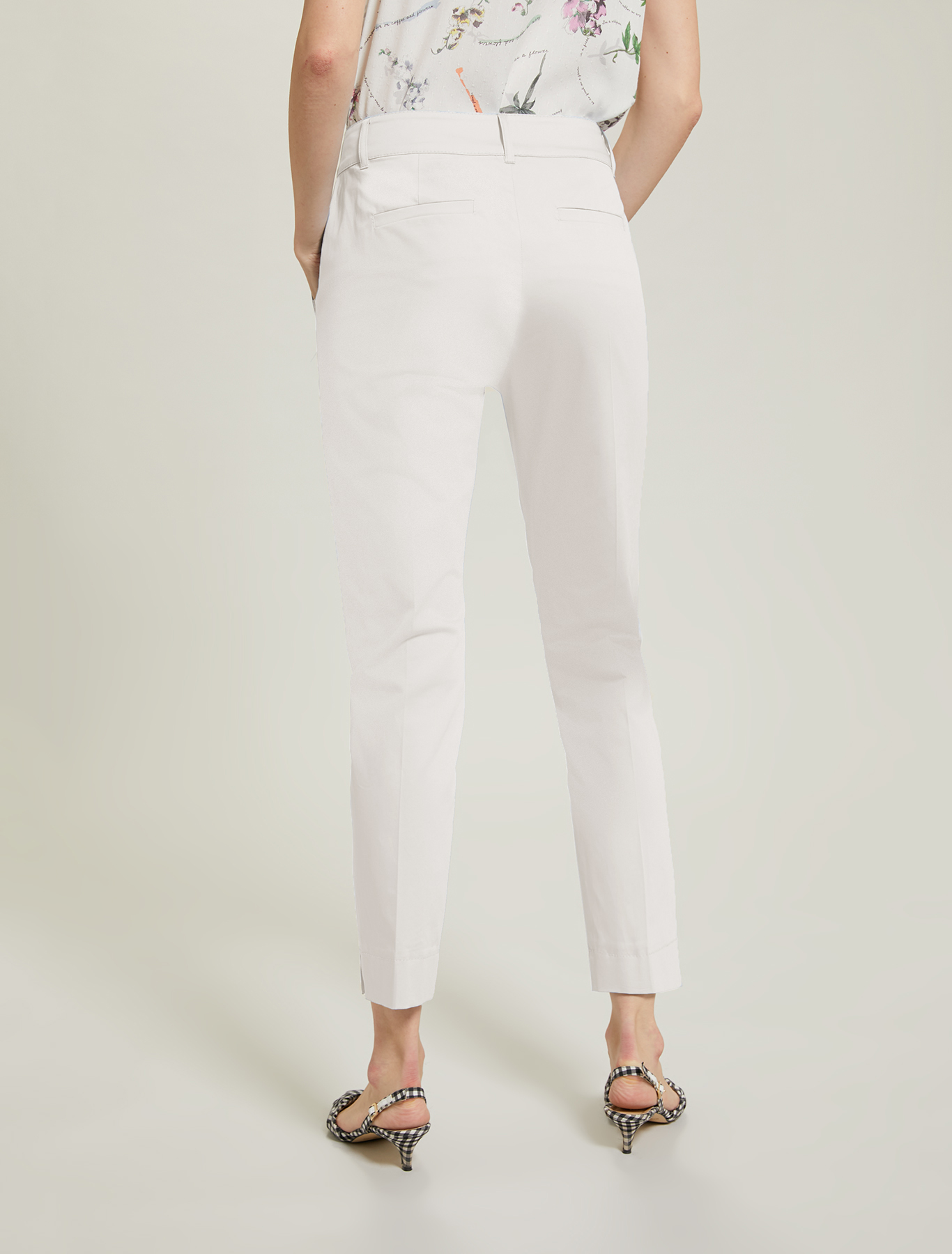 Slim cotton satin trousers - white - pennyblack
