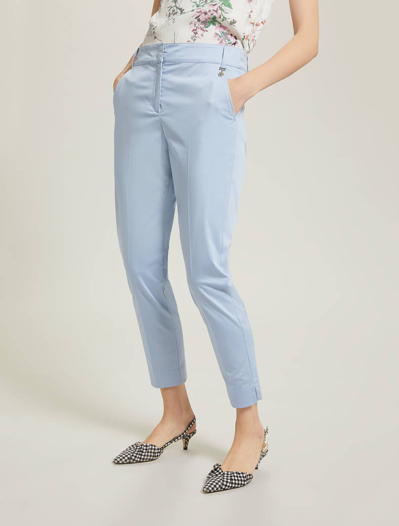 Slim cotton satin trousers - light blue - pennyblack