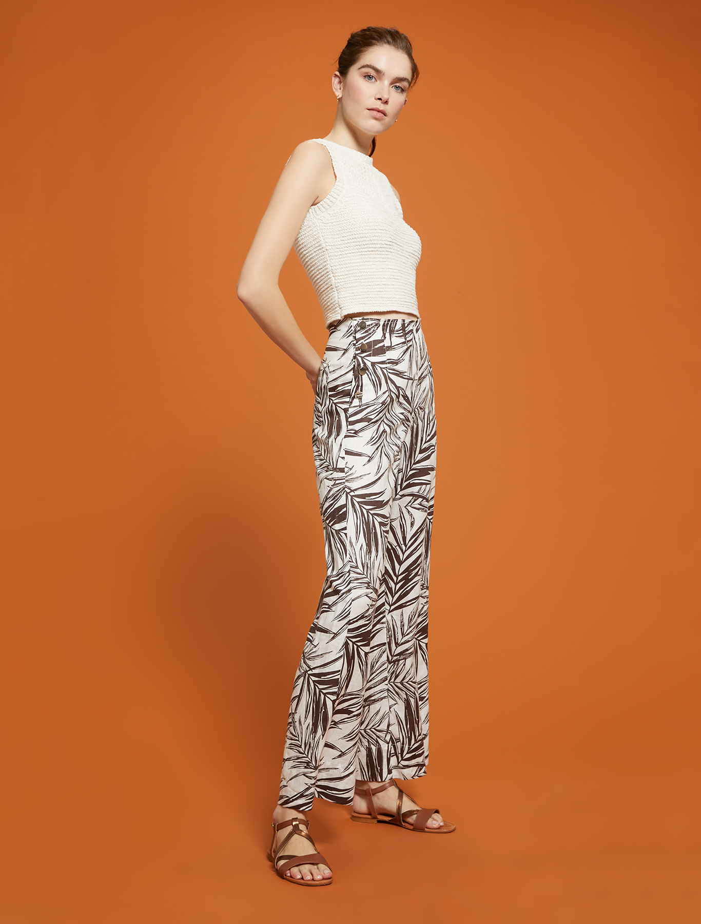 Pure linen wide-leg trousers - white pattern - pennyblack