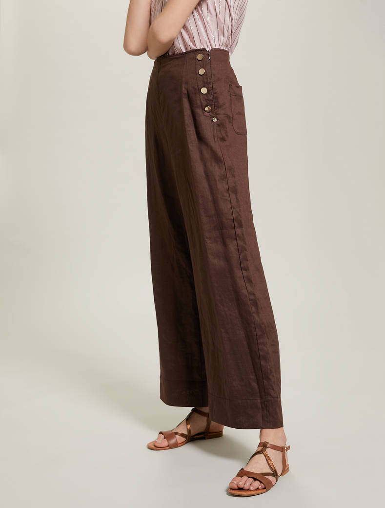 Pure linen wide-leg trousers - brown - pennyblack