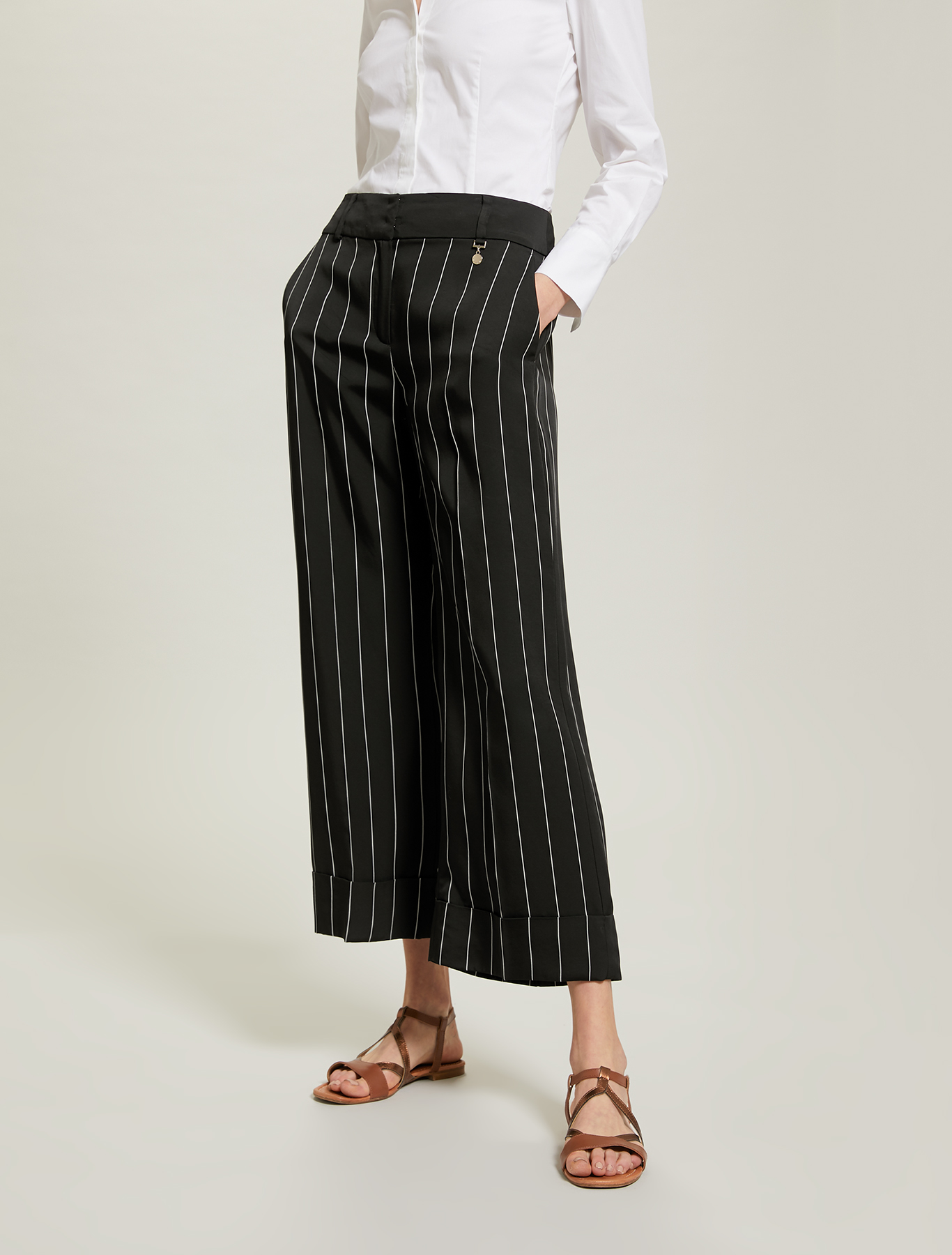 Pinstriped wide-leg trousers - black pattern - pennyblack