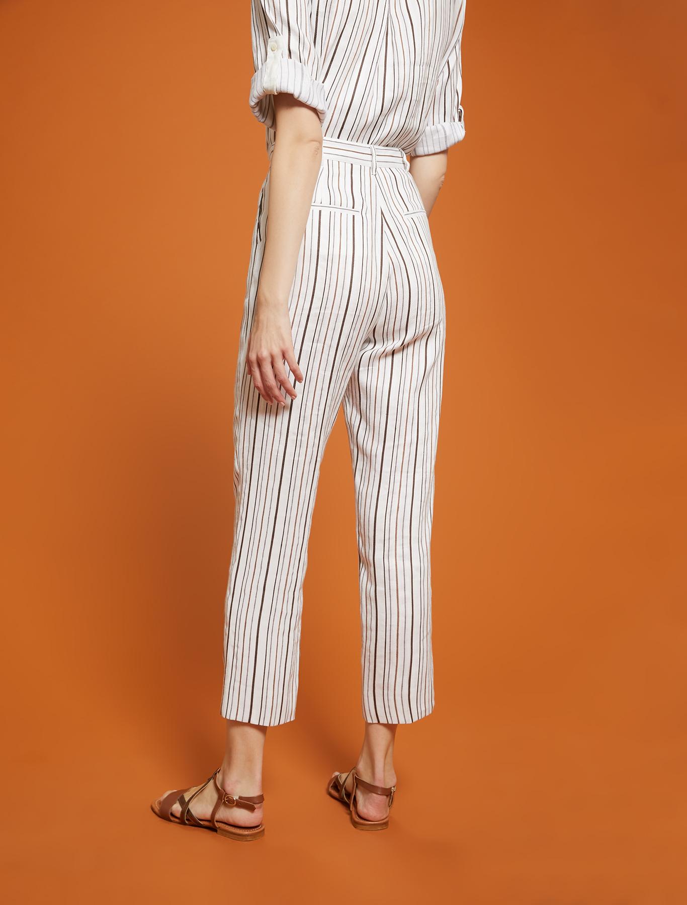 Striped linen-cotton trousers - ivory pattern - pennyblack