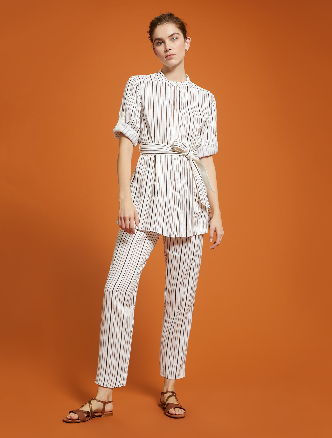 Striped linen-cotton trousers - ivory pattern - pennyblack