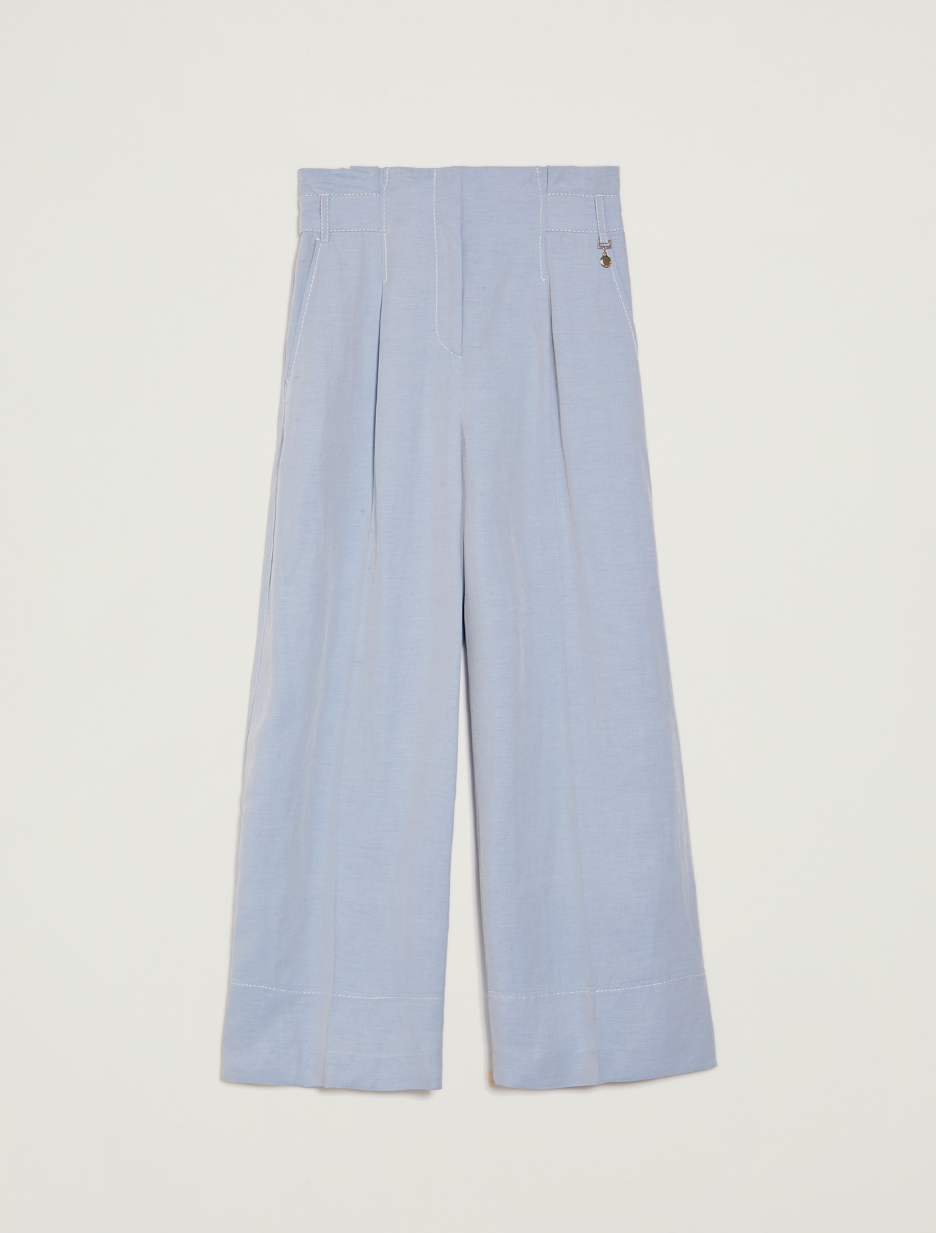 Fil-à-fil wide-leg trousers - light blue - pennyblack