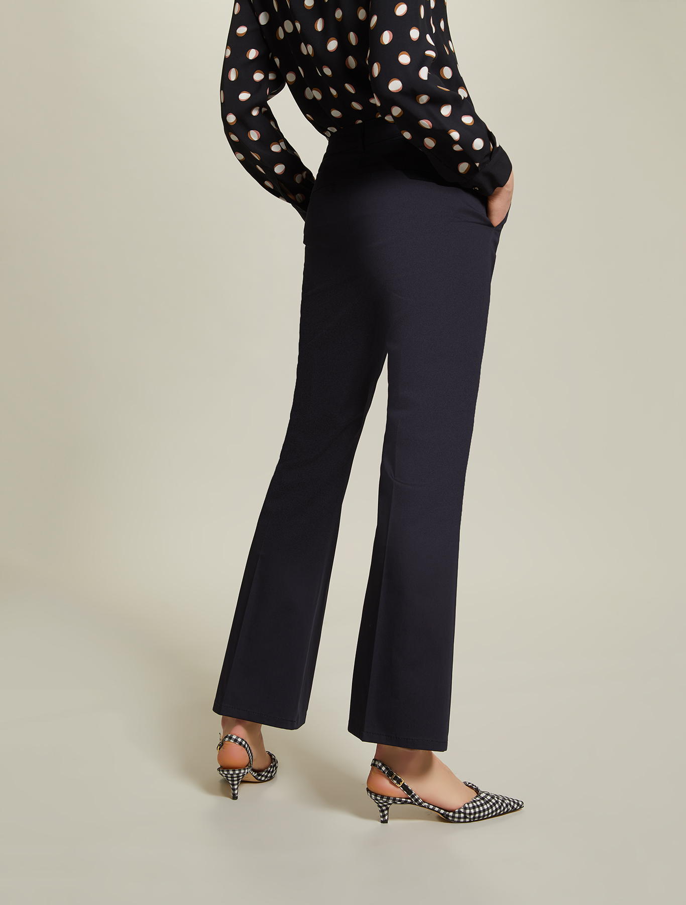Cotton satin trousers - navy blue - pennyblack