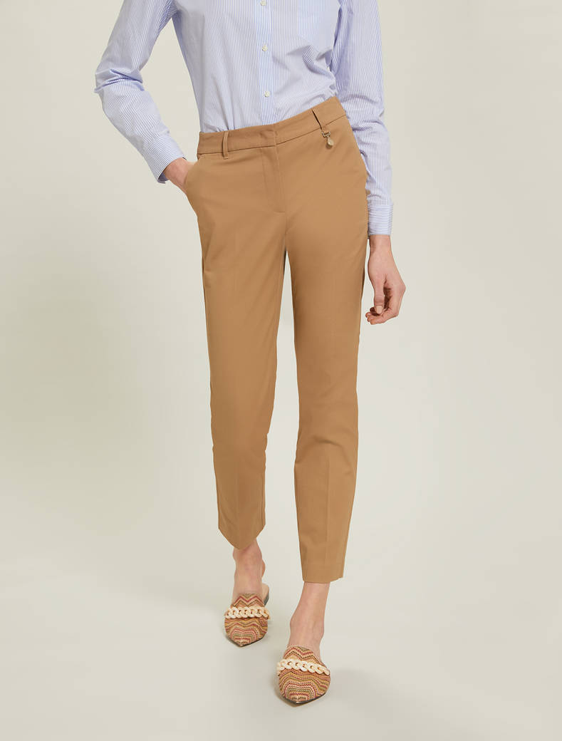 Cotton twill trousers - brown - pennyblack